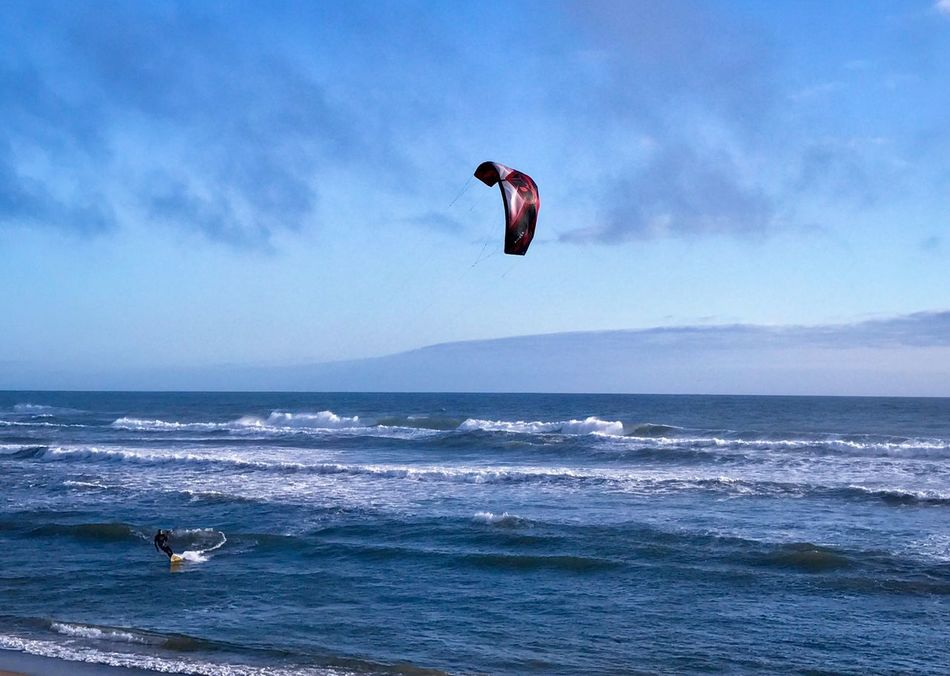Kite Surfing California Pacific Highway Pacific California Dreaming Surf Ocean Waves Blue Sky