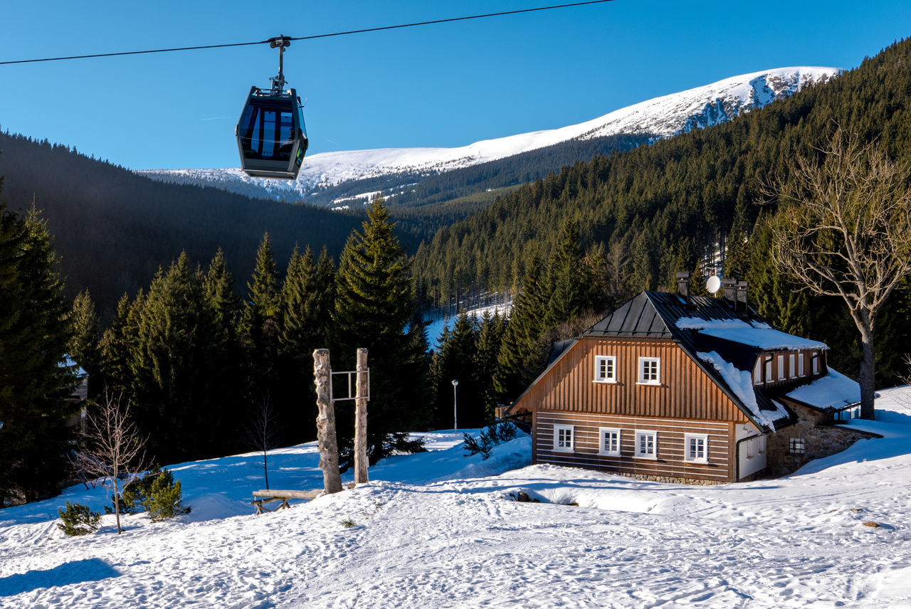 Architecture Beauty In Nature Building Exterior Built Structure Chalet Cold Temperature Day Forest Mountain Mountain Range Nature No People Outdoors Overhead Cable Car Scenics Ski Lift Sky Snow Snowcapped Mountain Sony A6000 Tree Winter