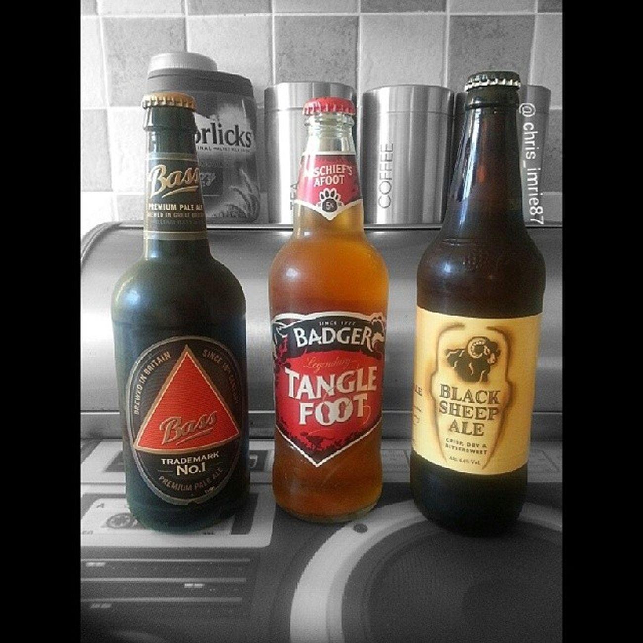 Trying some new beers tonight, enjoy your weekend and stay safe :) HeresToTheWeekend Saturday Saturdaynight Bass PremiumPaleAle Paleale Badger MischiefsAfoot Tanglefoot Blacksheep Ale Blacksheepale Britishbeer