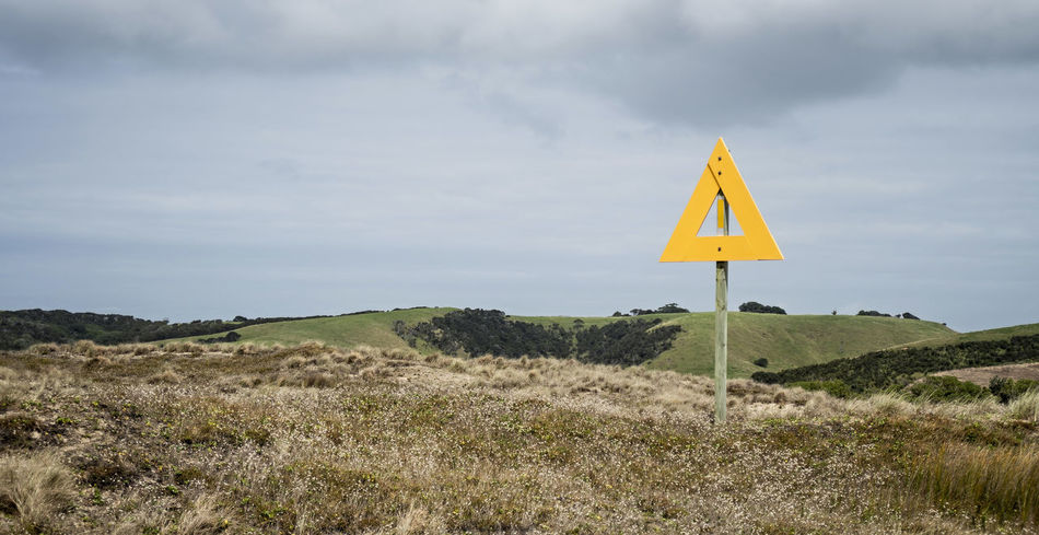 Beautiful stock photos of sign, Hill, Overcast, Rural Scene, Triangle Shape