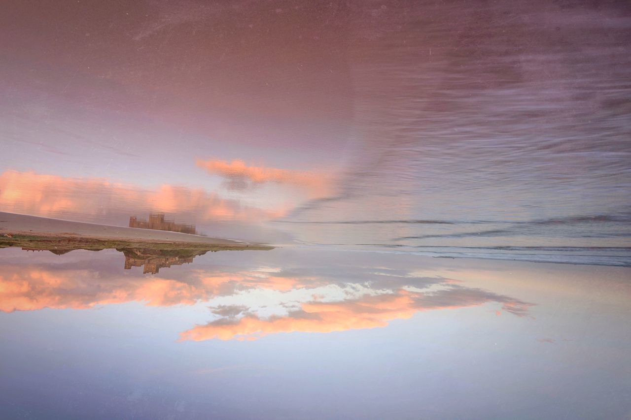Beach Flip Flop Beauty In Nature Reflection Tranquil Scene Scenics No People Idyllic Cloud - Sky Sea And Sky Beachphotography Beach Reflections Great Britain Bamburgh Castle Naturelovers Long Exposure Northumberland Seascape Seaside Waterfront Outdoors Beach
