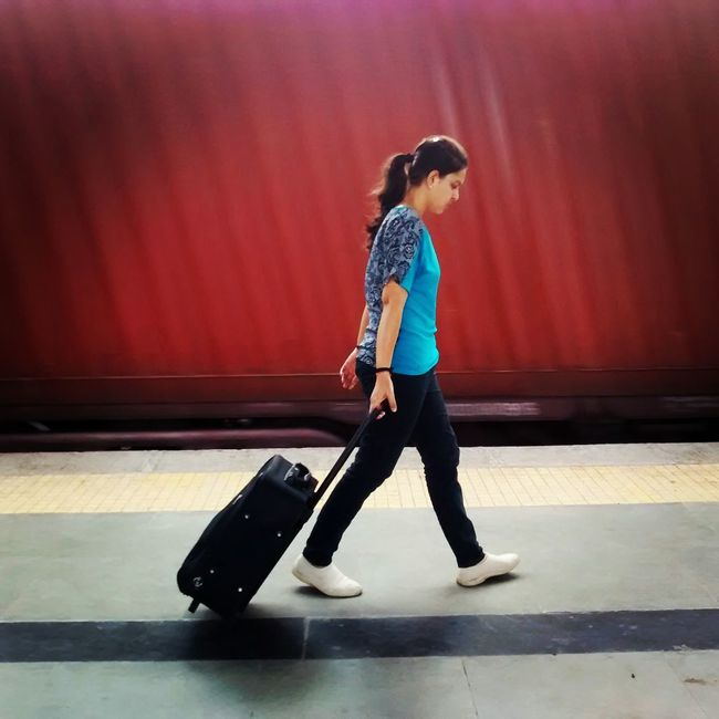 capturing motion Railway Platform Moving Goods Train My Wife Walking With Travel Bag