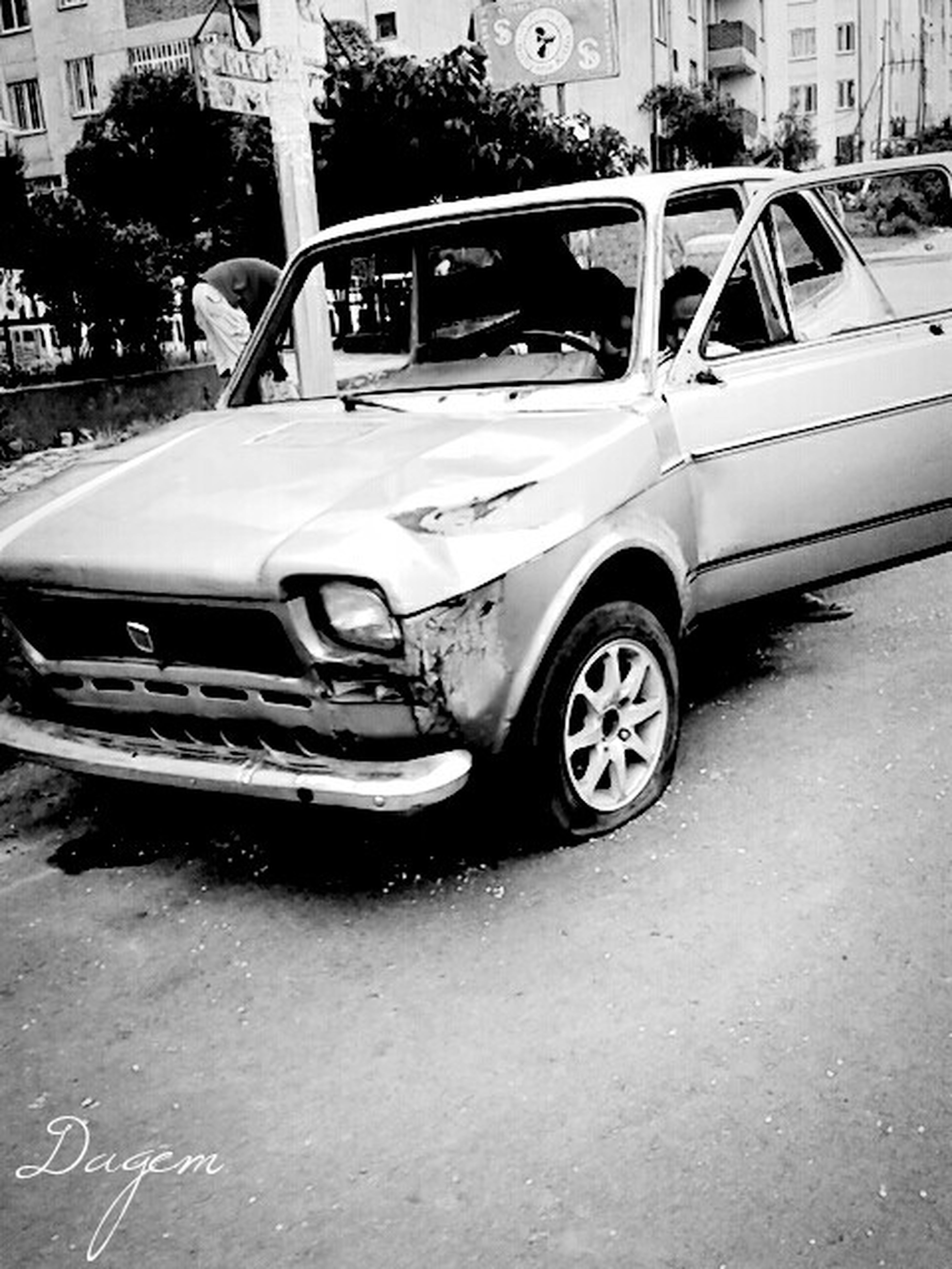 Black And White Photography FIAT-old Model Wrecked