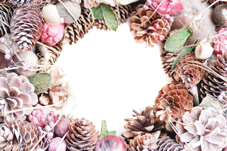 Backgrounds Christmas Christmas Decoration Close-up Day Decorations Freshness Full Frame Nature No People Pine Cone Wreath Decorated Wreath Christmas Ornament Room For Text Room For Copy Pine