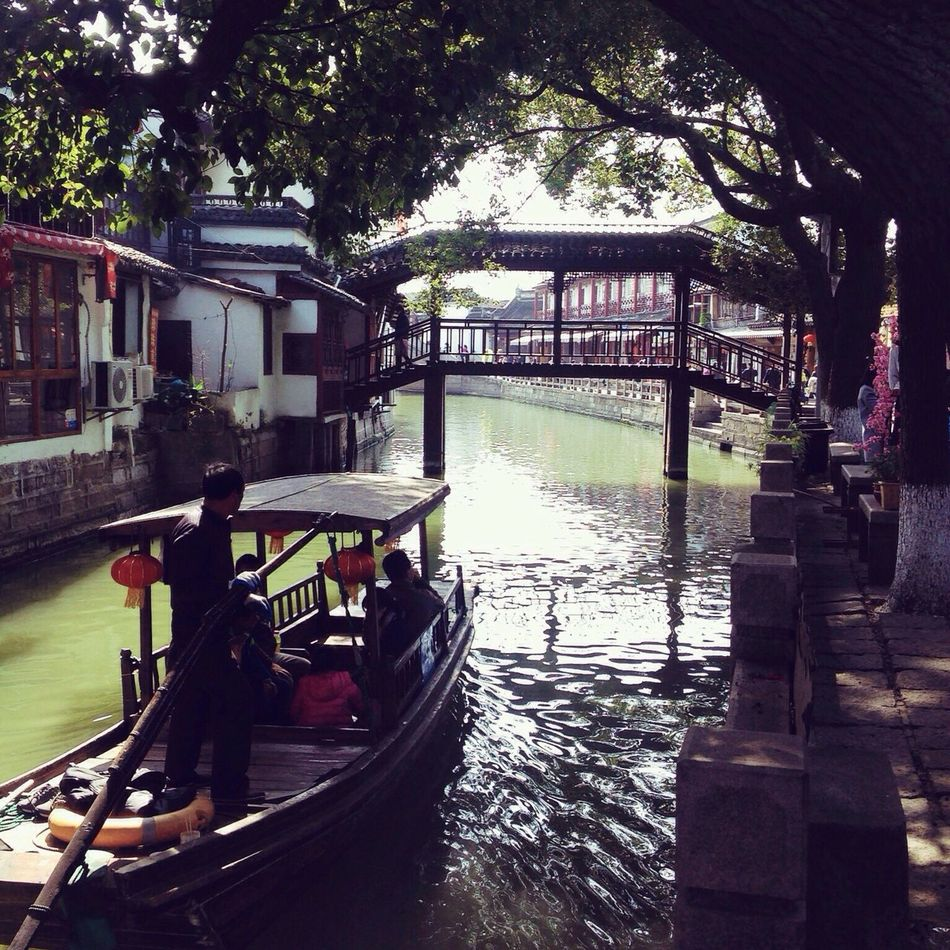 Architecture Bridge - Man Made Structure Tree Water Gondola - Traditional Boat Zhujiajiao Shanghai China