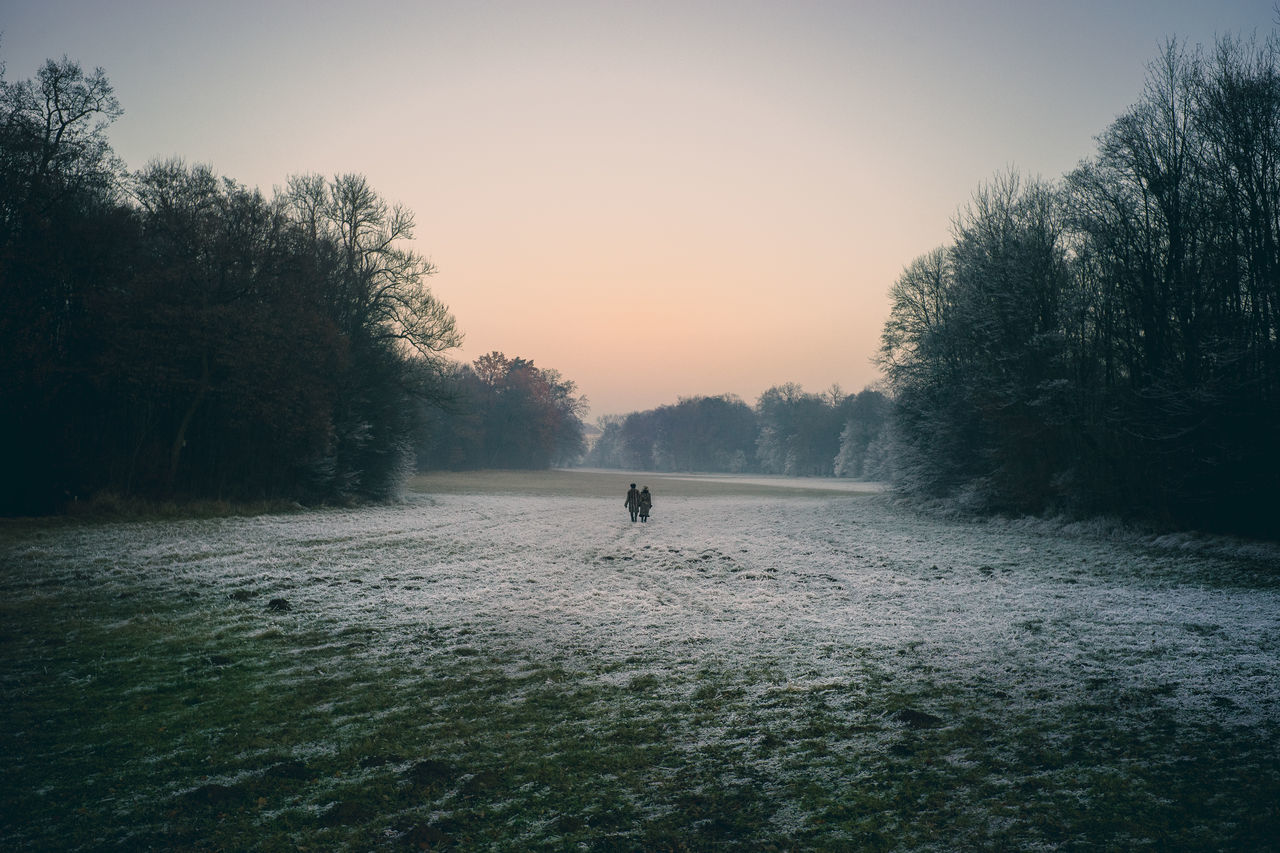 Furry People Beauty In Nature Day Fog Fur Coat Golf Golf Course Golfer Grass Minga Oida Nature Outdoors People Silhouette Sky Sunset Tranquility Tree