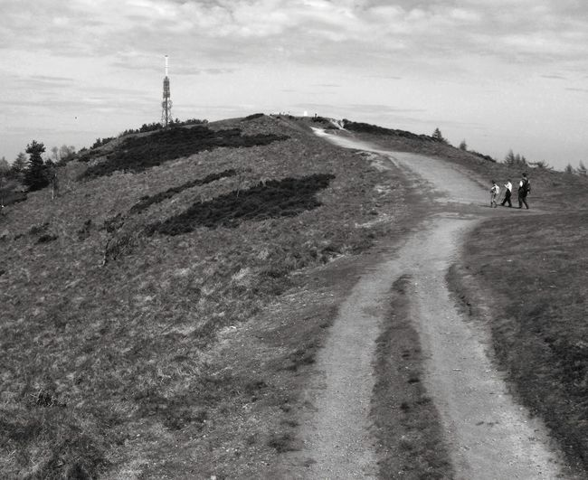 ... Approaching the Tower ... Walkers Road Hill Mount Summit Wrekin Shropshire Blackandwhite Bw Monochrome Sepia Weird Family Walking Past Prompts Burned Earth