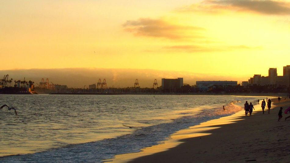 Long Beach Sunset Beach Sky Water Sea Beauty In Nature Sand