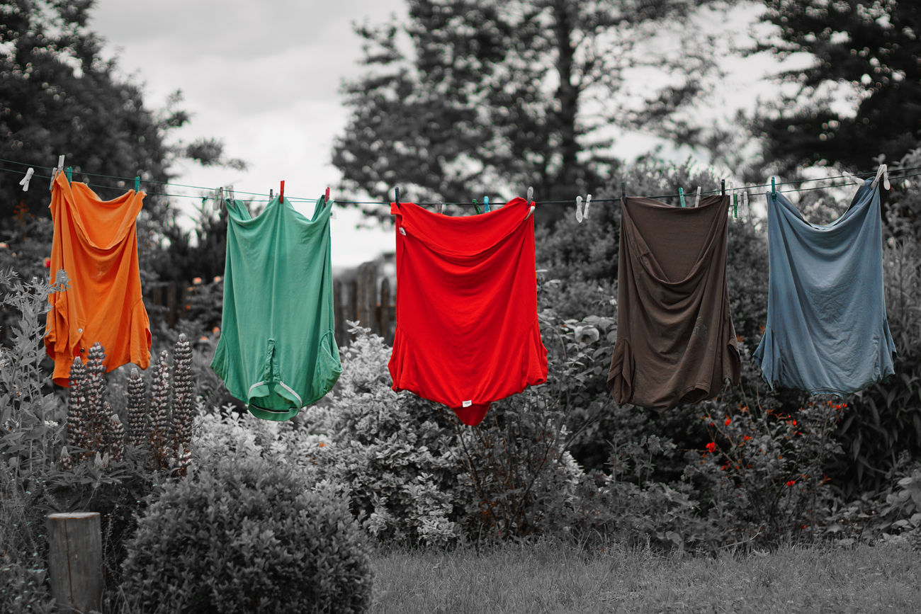 Art Black Color Day Drying Grass Green Color Hanging In A Row Laundry Laundry No People Outdoors Red Sky Tree Black Colour Color Black&white