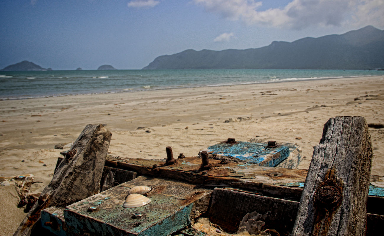 Abandoned Beach Beach Photography Boat Wreck Day Island Nature Sand Sea Shells Tranquil Scene Tranquility Vietnam Trip Water