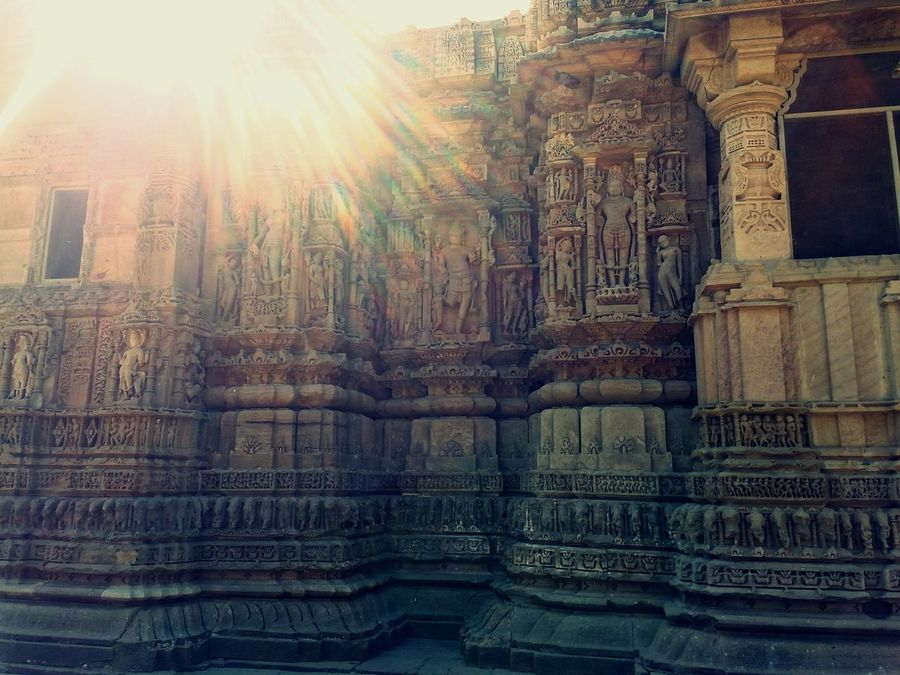 Sun Temple Modhera Incredible India Carved Stone Art Heritage Site Creative Light And Shadow Bright Sunshiny Day