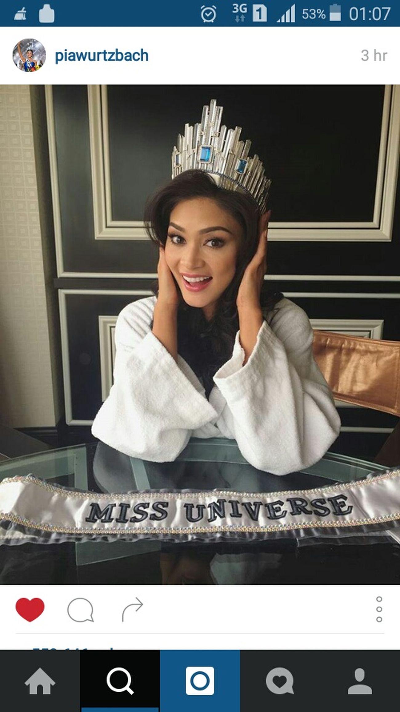 Congratulations Missuniverse2015 MissUniverso Missphilippines Piawurtzbach 👏👍👌😘 Mabuhay Mahal Kita