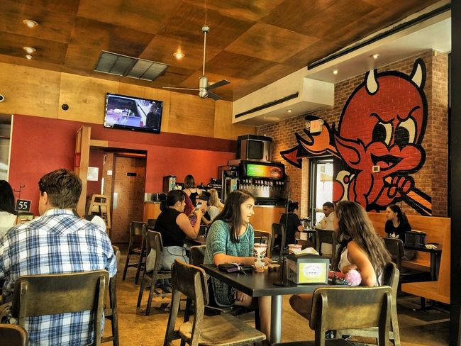 Good Eats. Indoors  Restaurant Food And Drink Industry Dining Hdr_captures Texas!!!! Austin Texas Streetpgotographer City Life Street Hdr_lovers Multi Colored Vibrant Color Red Torchystacos Food And Drink