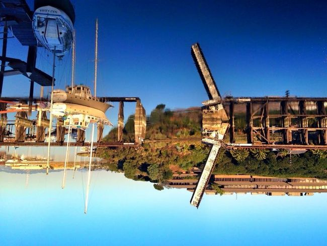 The World Underneath Water Reflections Reflection Upside Down Boats Drawbridge  Drawbridge Up Mirror Reflection Deep Blue IPhoneography
