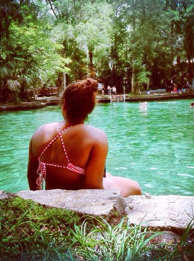 Tree Water Rear View Sitting Relaxation Transportation Lifestyles Person Casual Clothing Tranquil Scene Day Lush Foliage Green Color Summer Nature Solitude Vacations Growth Weekend Activities Spring