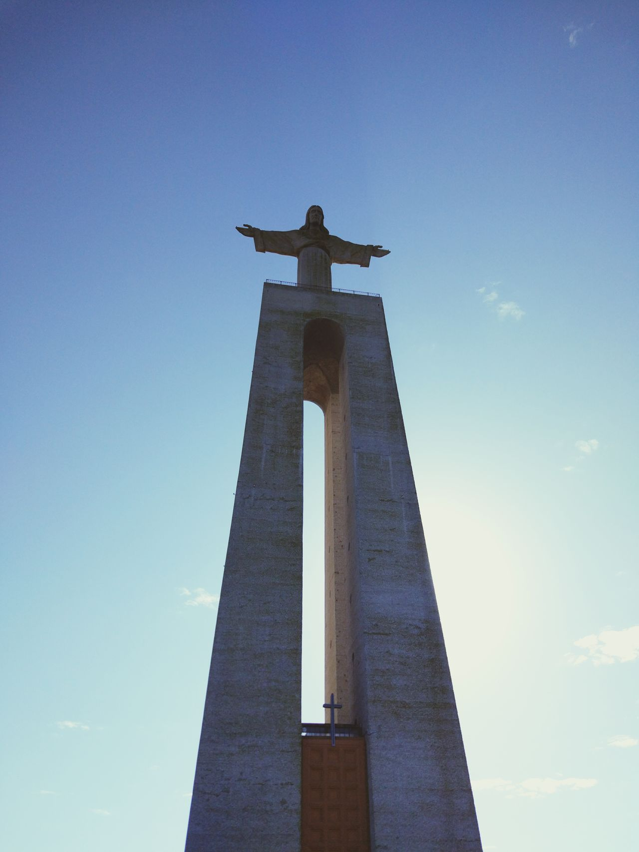 Christ the King Blue City Sky Travel History Archival Monument Architecture Built Structure Business Finance And Industry Travel Destinations Low Angle View Bell No People Night Clock Face Outdoors Portugal Lisbon Lisboa Portugal Christ King Rei Church