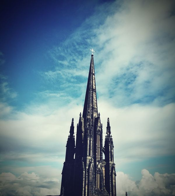 Architecture Cloud - Sky Built Structure Building Exterior Sky History Cityscape Day Outdoors No People City Travel Destinations The Hub Scotland Edinburgh Gothic Style Clock Tower Architecture Construction Frame