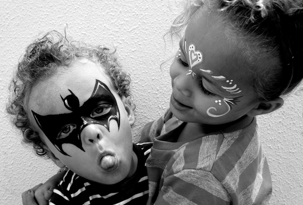 Archival Batman Boys Brother And Sister Child Childhood Children Only Day Face Paint Females Friendship Horror Human Body Part Human Face People Performing Arts Event Stage Make-up Togetherness Two People
