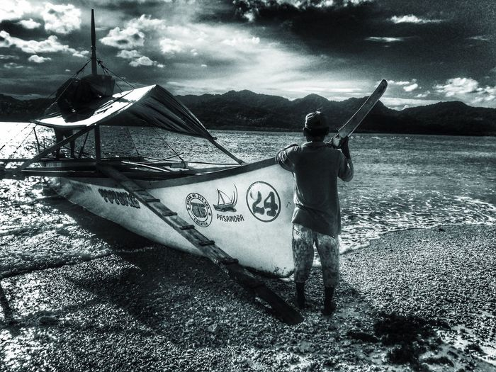 Water Outdoors Nature Beach Lifestyles Sojourner Blackandwhite Monochrome Blackandwhite Photography EyeEm Best Shots Beauty In Nature Waves Boat waiting to board the boat to go island hopping near Santa Ana Cagayan, Philipines
