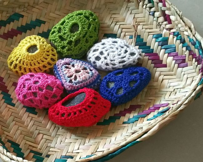 Yarn Crochet Pebbles And Stones Crochet Pattern Handmade Multi Colored No People Indoors  Close-up Postoftheday Home Decor Paper Weight Decor Visual Feast