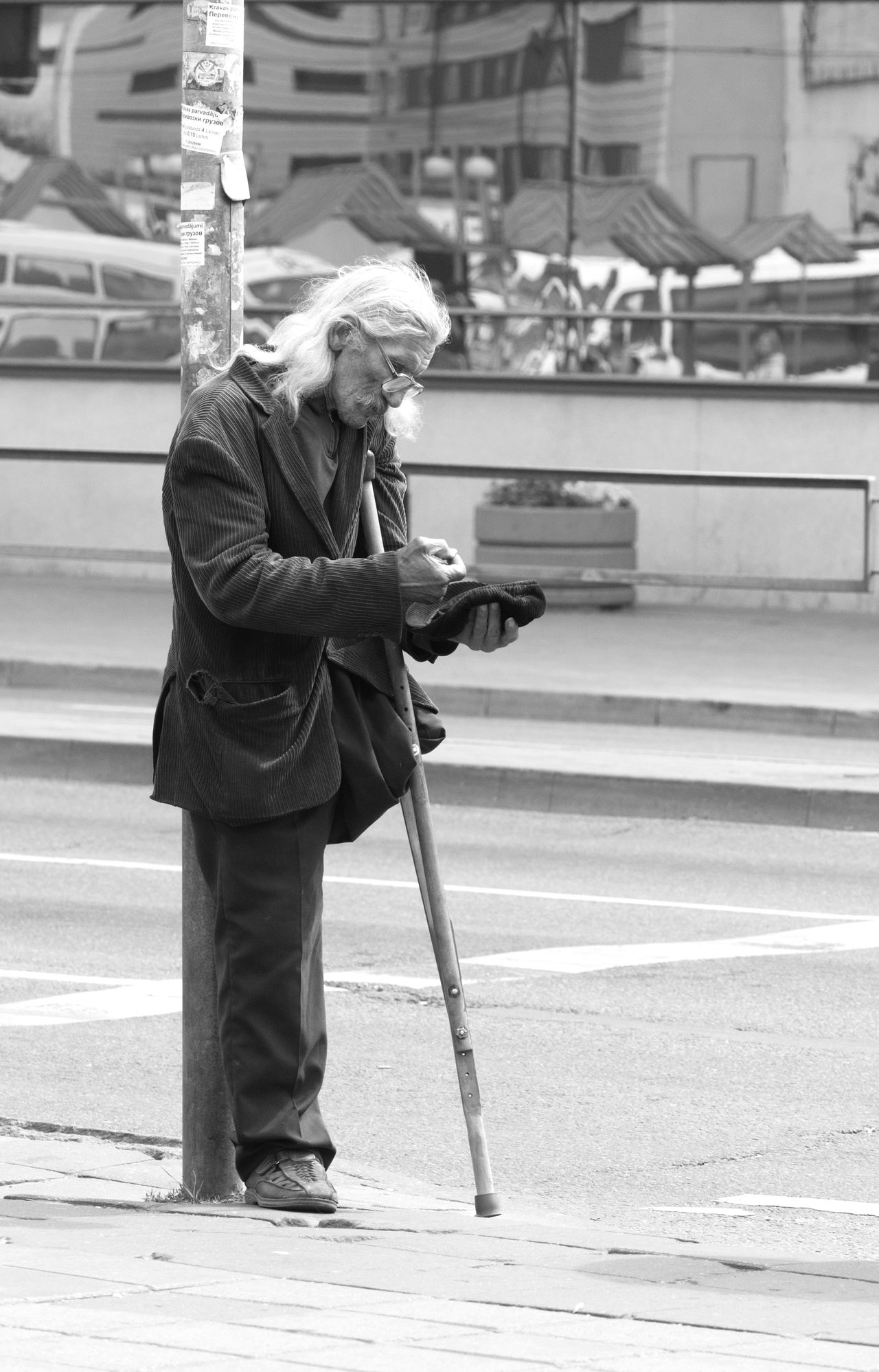 disabled person requests assistance to people Adult Adults Only Black And White Blackandwhite City Day Disabled Person EyeEm Best Shots Full Length Help Help Me Holding Money Old Men One Hand One Person Outdoors People Real People Society Streetphotography Warm Clothing Candid The Portraitist - 2017 EyeEm Awards The Street Photographer - 2017 EyeEm Awards