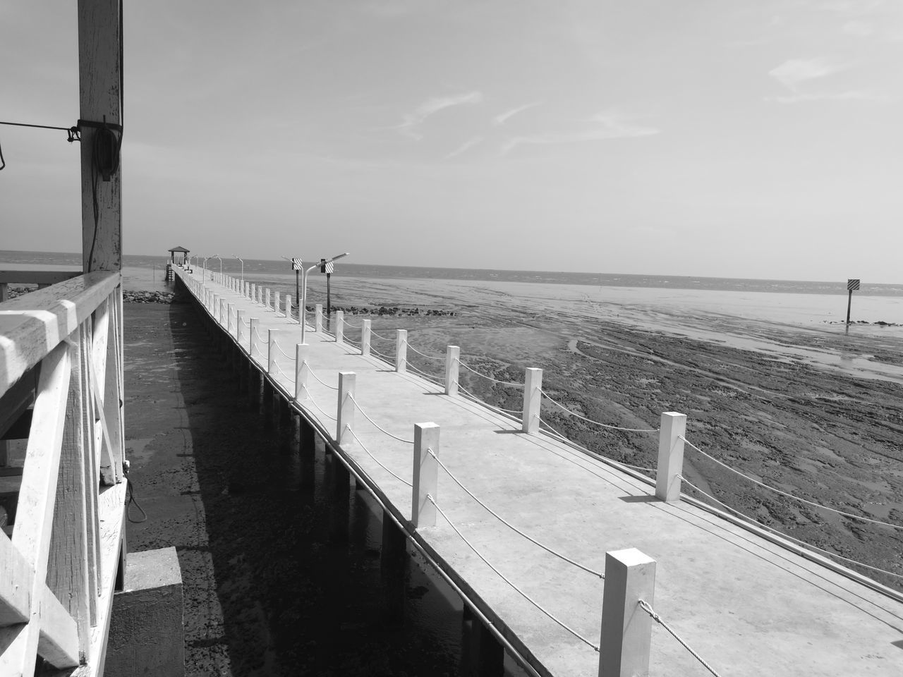 sea, horizon over water, railing, water, day, outdoors, sky, nature, no people, nautical vessel, beauty in nature, fishing pole
