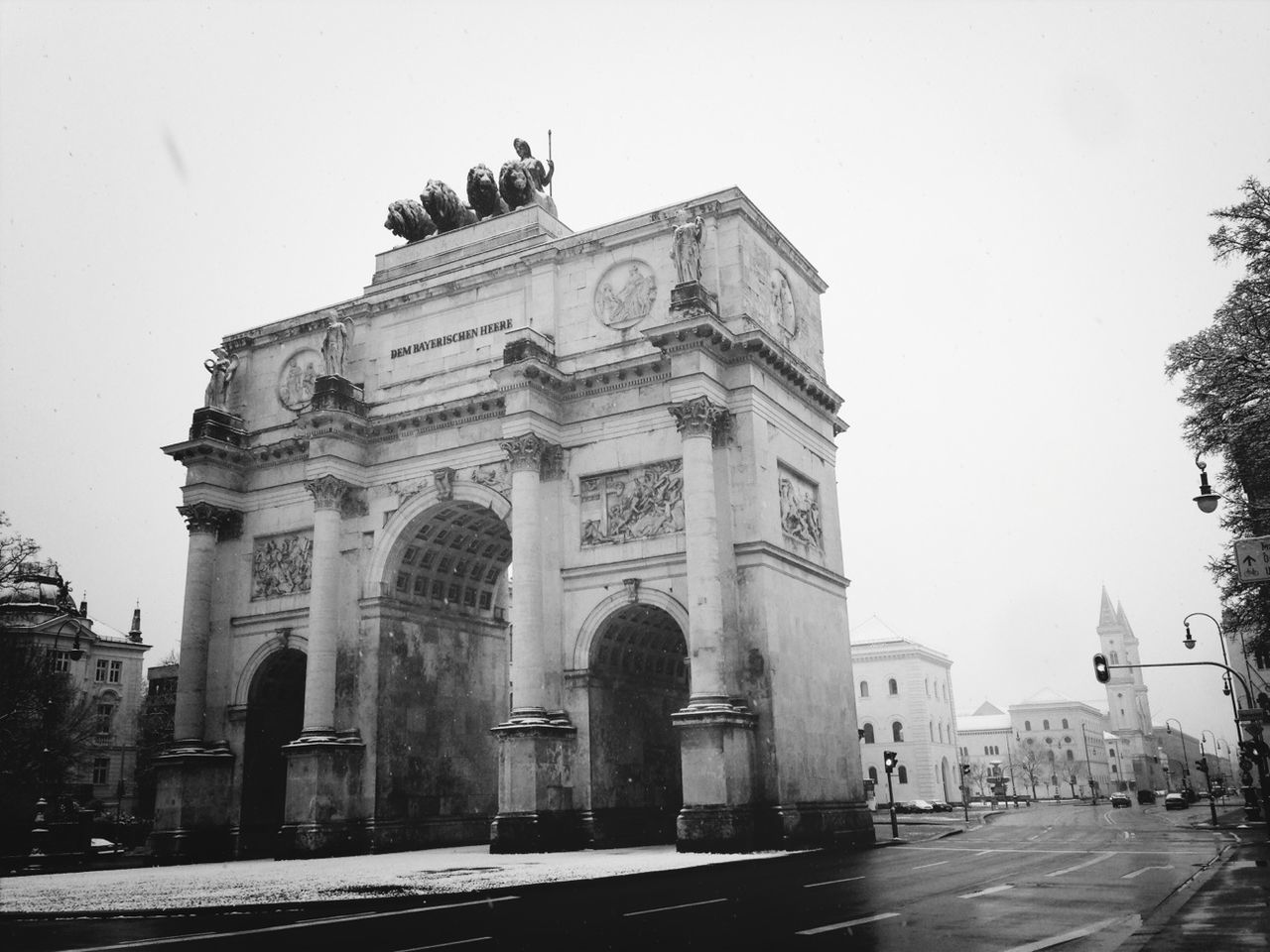 Low Angle View Of Siegestor Against Clear Sky