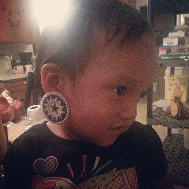 Rocking her earring grandma made for her Littlesister ZanaBana Beadwork NatvieAmerican