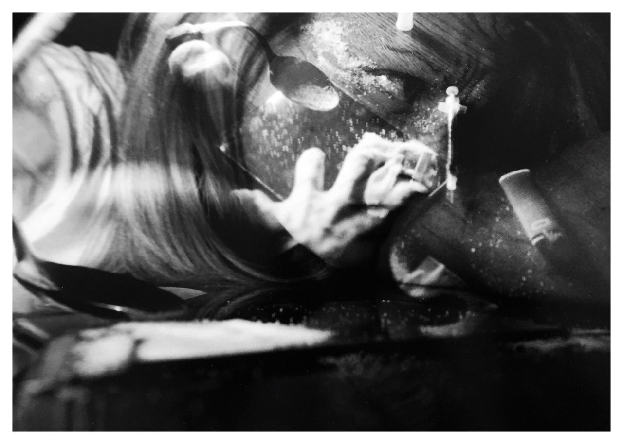 "Addictions 2. From my series of 12 photos, entitled ""Addictions, Obsessions, Compulsions"" Shot on Kodak TMax 100 film with my Canon EOS Rebel K2. Conceptual Photography  Conceptual Image Sandwiched Negatives Double Exposure Film Photography Story Photography Addiction Drugs Contrast Blackandwhitephotography B&W_collection Inspired By Cindy Sherman Needles Cindy Sherman Conceptual Self Portrait"