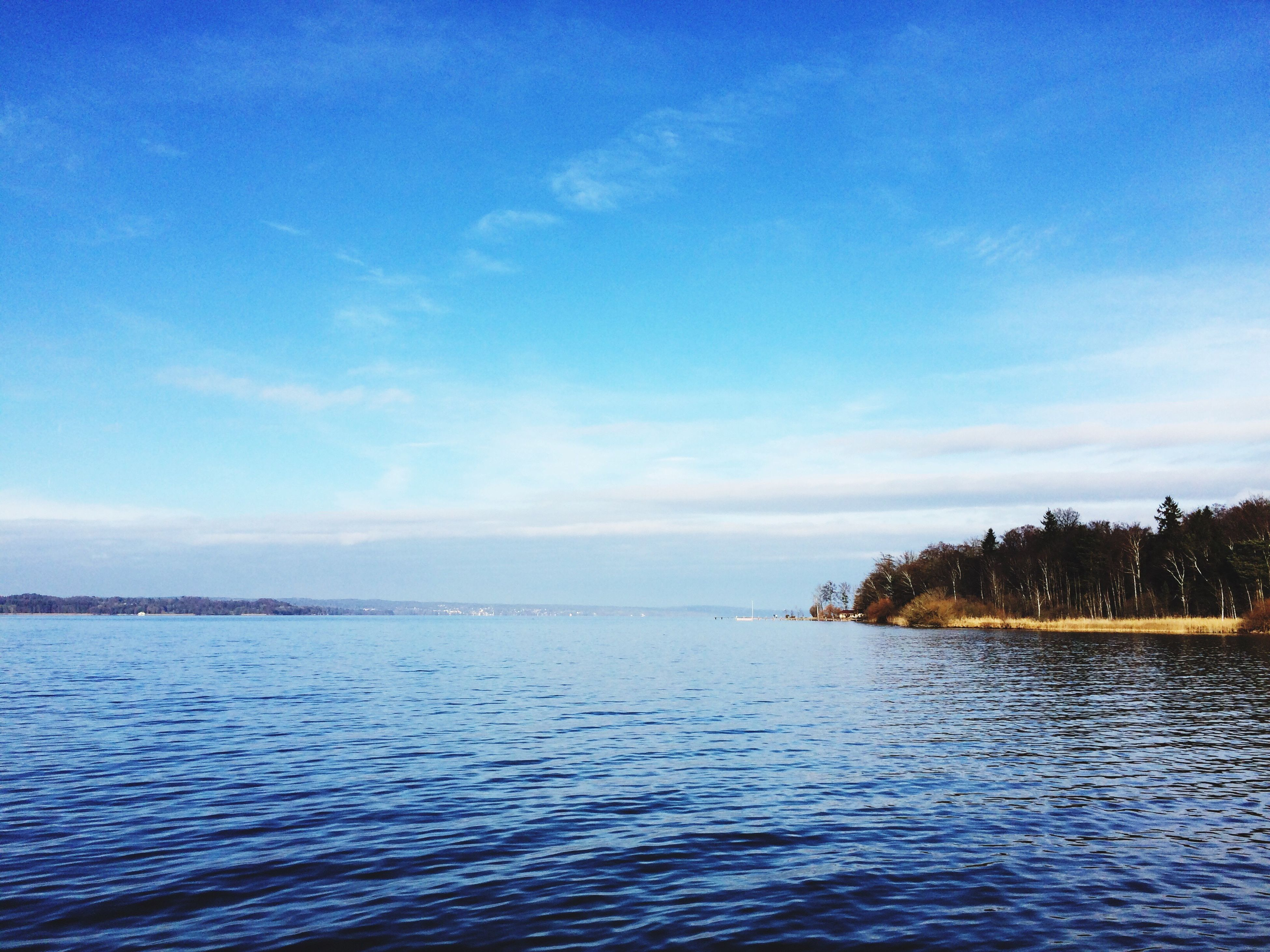 sea, water, blue, sky, beauty in nature, nature, tree, horizon over water, tranquility, scenics, outdoors, tranquil scene, day, waterfront, no people