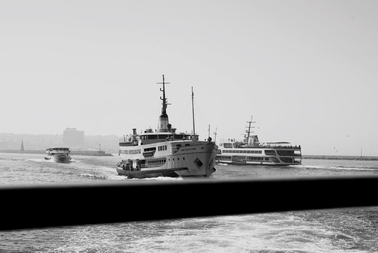 Vapur Ve İstanbul Vapur Blackandwhite Mode Of Transport Transportation Nautical Vessel Clear Sky Copy Space Outdoors Day No People Sky Sea Water Nature