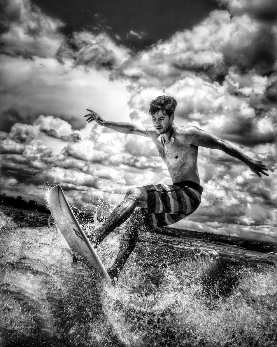 Blackandwhite Blackandwhite Photography Black&white Photography Black And White Black & White Day Wakeboarding Life  Wakeboarding Wakeboard Surfing Surf Wakesurfing Wakesurf Lago Paranoa Brasília Brazil Sky One Person Sport Leisure Activity Outdoors Cloudscape Water Cloud - Sky