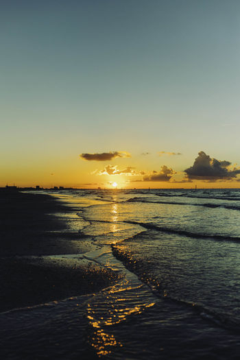 Beach Beach Sunset Beauty In Nature Cloudy Sunset Cloudy Sunset Sky Golden Sunset Golden Sunset Water Reflections Horizon Over Water Landscape Nature No People Outdoors Reflection Refliction Relaxing Retro Scenics Sea Sky Sun Sunset Tranquility Vertical Vintage Water