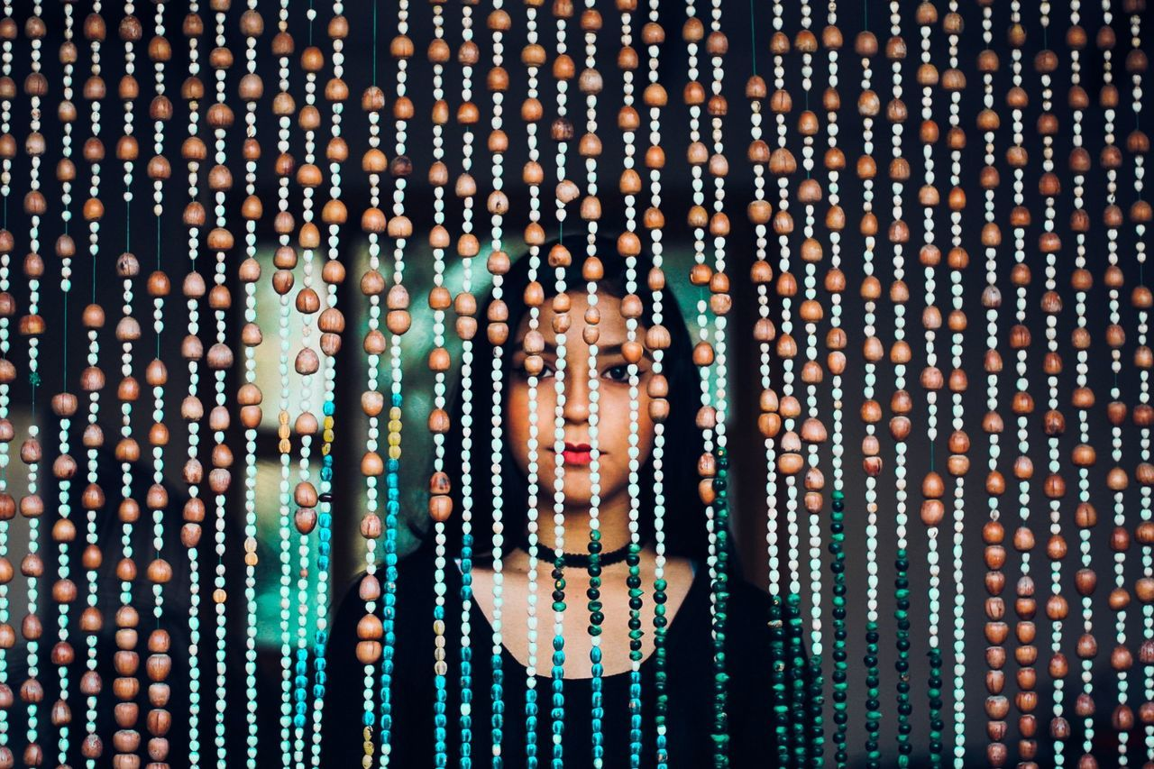 one person, adults only, portrait, headshot, one woman only, mid adult, looking at camera, pattern, only women, front view, people, adult, indoors, one young woman only, human face, futuristic, young adult, cyberspace, technology, close-up, day, pixelated