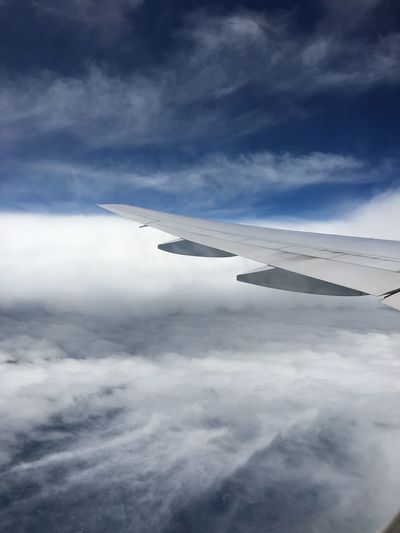Aircraft Wing Airplane Cloud - Sky Cloudscape Cloudy Sky Flying Plane Sky Transportation Travel White