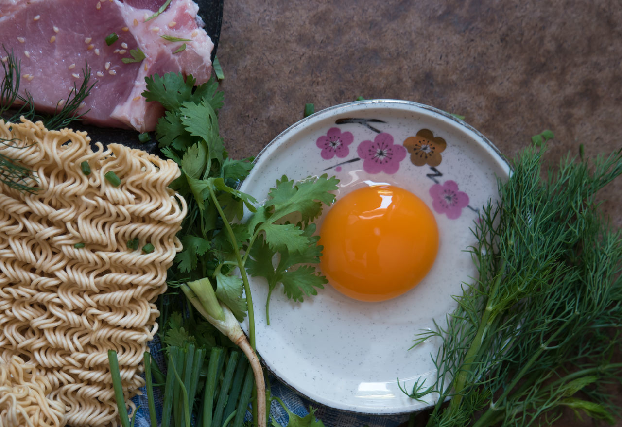 Close-up Cooking Coriander Day Dill Egg Egg Yolk Egg Yolk Food Food And Drink Food Preparation Freshness Healthy Eating High Angle View Indoors  Ingredient Instant Noodle No People Preparing Food Raw Meat   Spring Onion Springonions