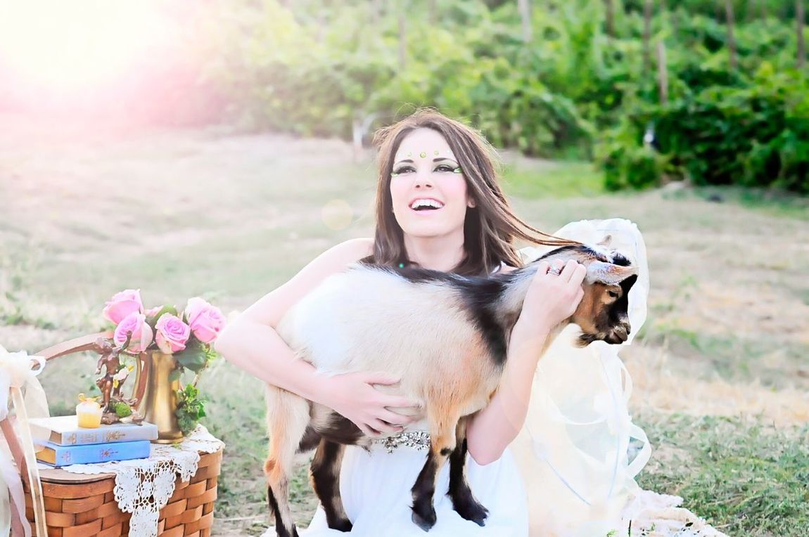 Natural Light Nikonphotographer Countryside Glamour Wedding Dress Style Natural Beauty Farm Animals Goat Fairytale  Fashion Fashion Photography Sentimental Bride Glamourous Picnic Fresh Timeless Beauty