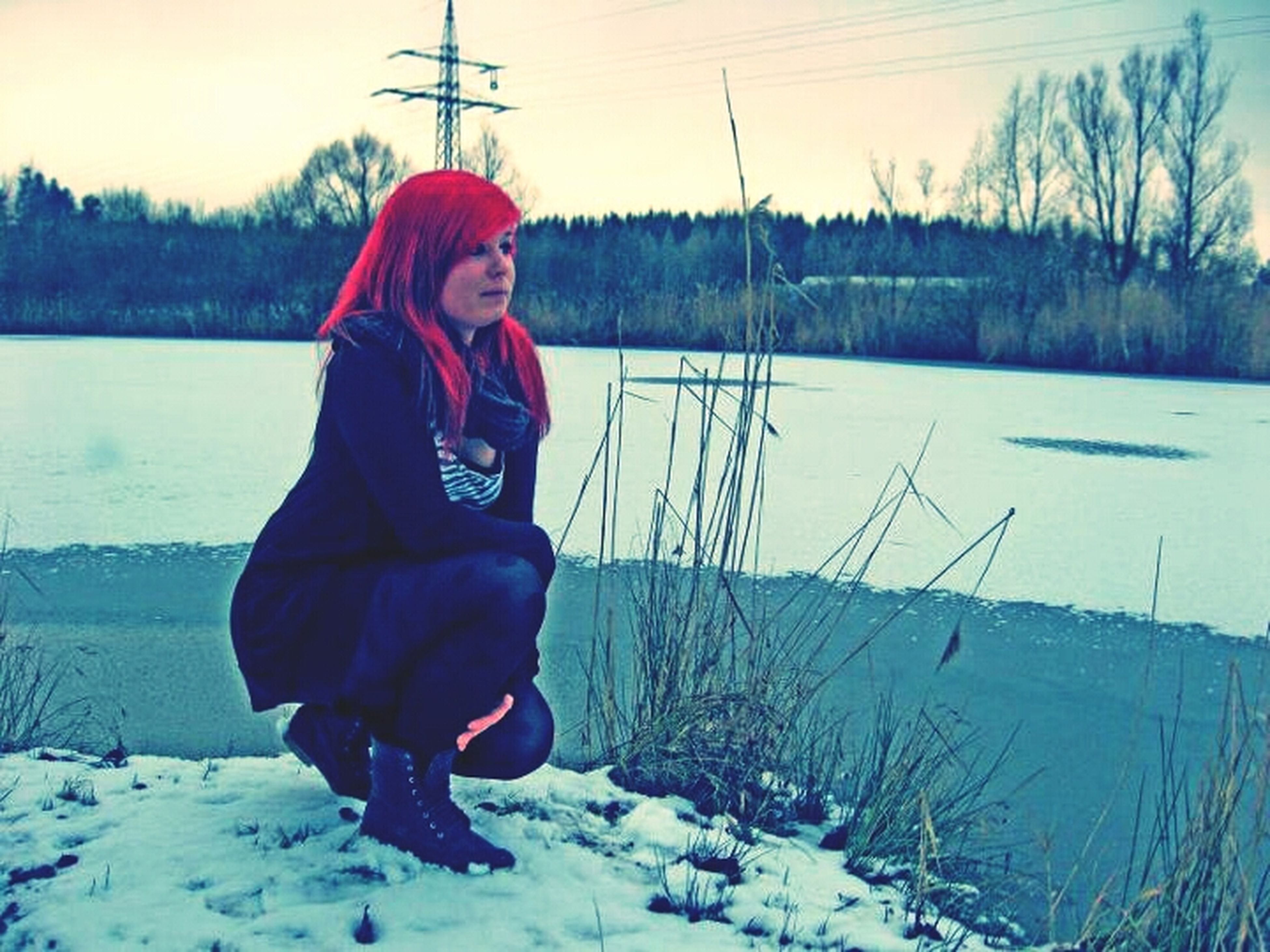 winter, snow, cold temperature, season, field, landscape, weather, tranquil scene, full length, leisure activity, lifestyles, standing, warm clothing, nature, tranquility, covering, non-urban scene, sky