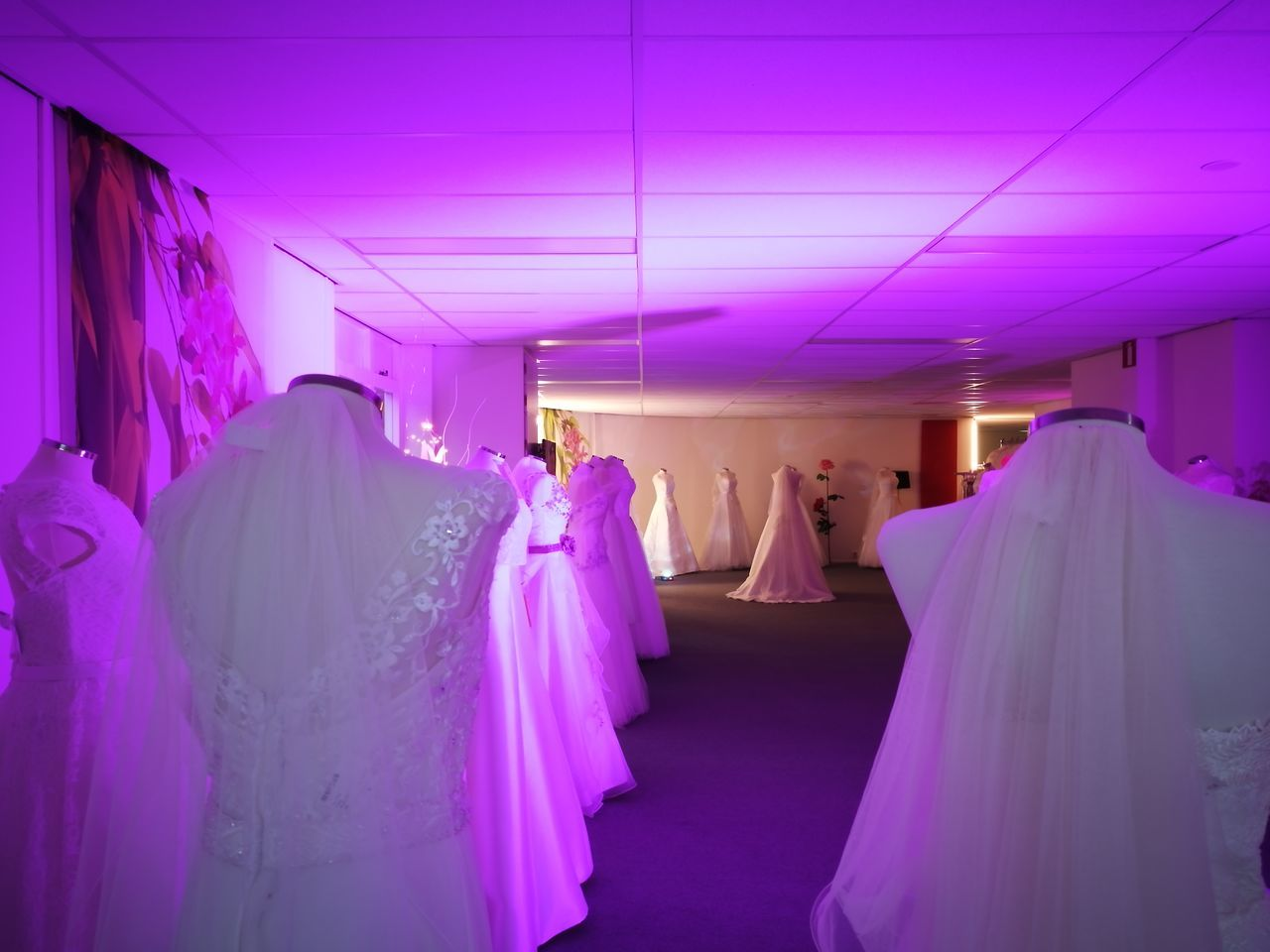 pink color, hanging, purple, multi colored, retail, indoors, store, no people, wedding dress, coathanger, day