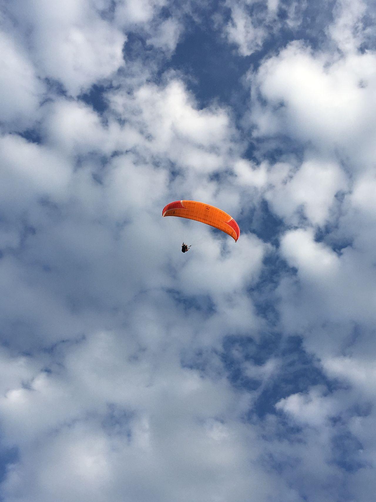 Parachute Sky Orange Paragliding Cloud - Sky Extreme Sports Adventure Florianópolis Brasil