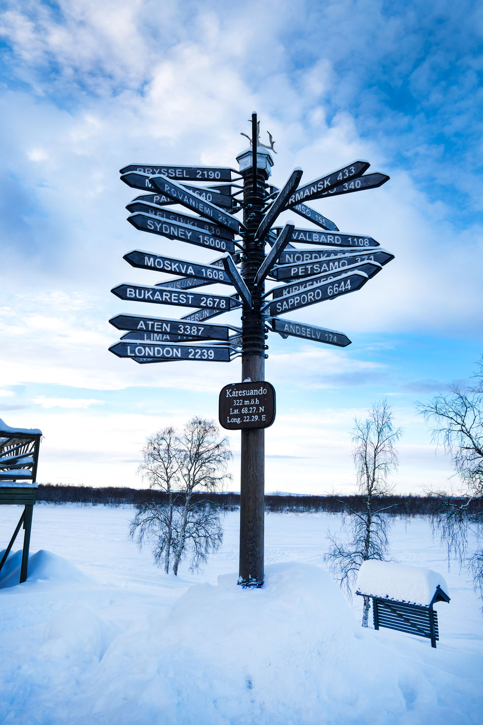 Which way to go? Bare Tree Cloud - Sky Cold Temperature Crossroads Of The World Directional Sign EyeEm New Here Eyeem New Talent Frozen Nature No People Outdoors Scenics Sign Signage Signpost Signposting Signposts Sky Snow Snow Covered Which One Is Better? Which Way To Go? Which Way? Winter Wintercollection Miles Away EyeEmNewHere