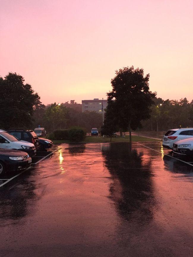 Orange. Cars. Sunset. Rain. Great. You. Blonde. Sexy. Naked. Reflection. Trying. Parking Lens Flare Vehicle Diminishing Perspective