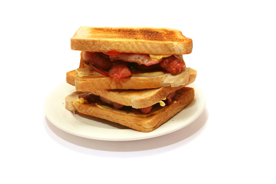 Bacon Bacon Sandwich Bread Close-up Food Food And Drink Freshness Indoors  Plate Ready-to-eat Snack Still Life Studio Shot Table Temptation Toast Unhealthy Eating White Background