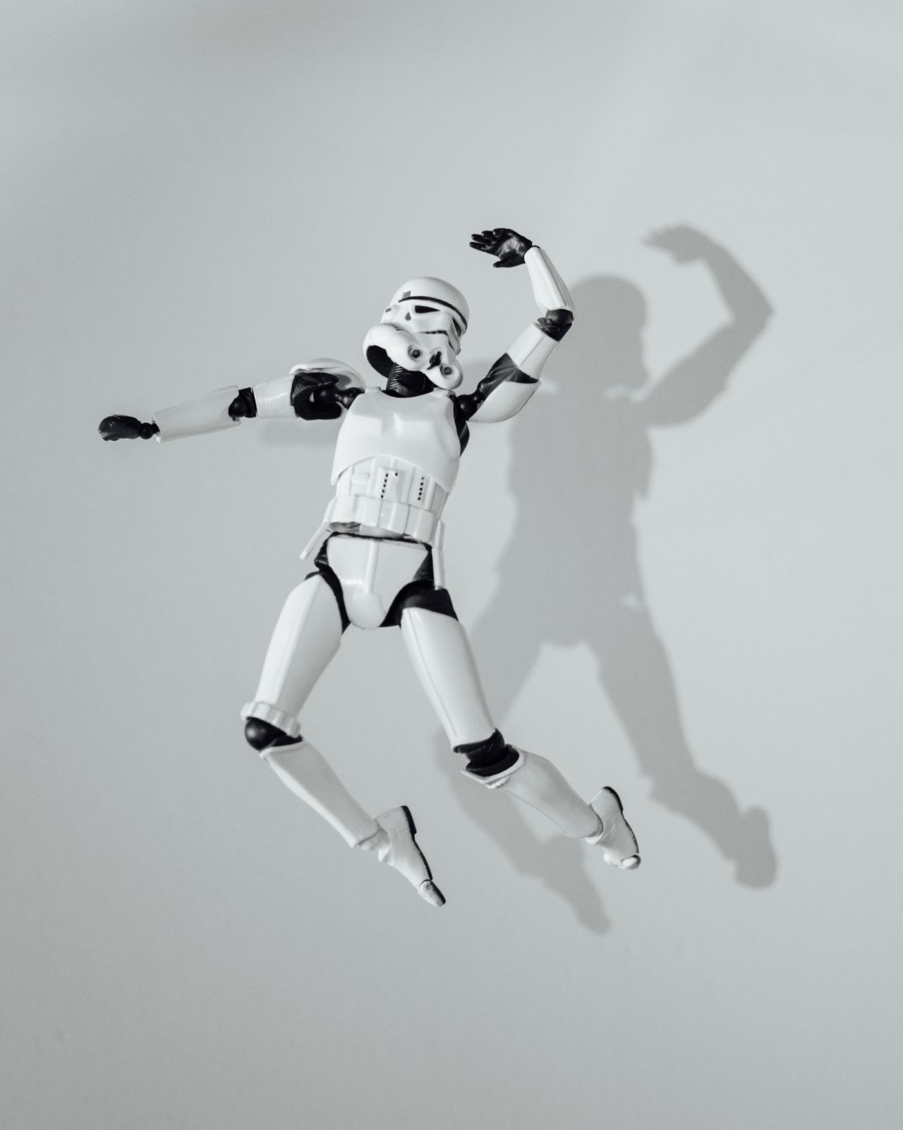 Lets go ! Arms Raised Jumping Studio Shot Shadow Mid-air Childhood White Background One Person Real People Sports Uniform Day Outdoors Sky People Starwars Starwarstoys MayThe4thBeWithYou Stormtrooper Jumpstagram White Color Toyphotography Toys First Eyeem Photo EyeEmNewHere