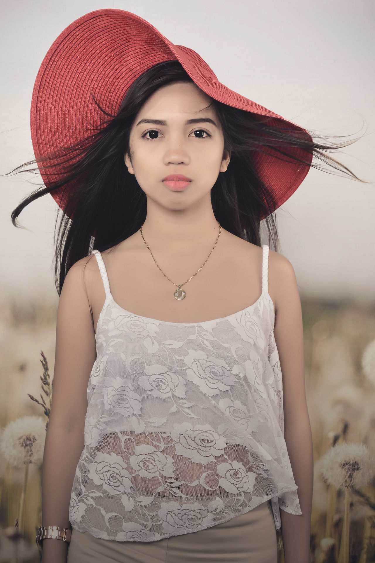 Asian  Fields Filipina Beauty Girl Red Hat Studio Photography White Flower Windy Day