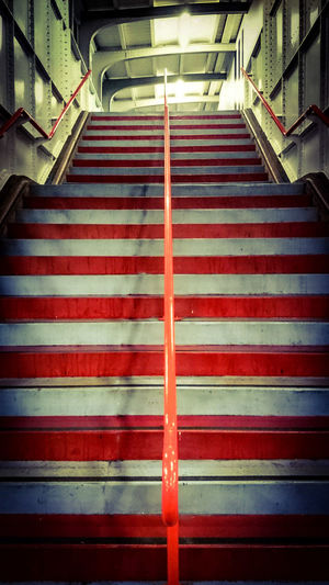 Stairway to Train Station Groningen. Urban Geometry in Red and Grey in Light And Shadow
