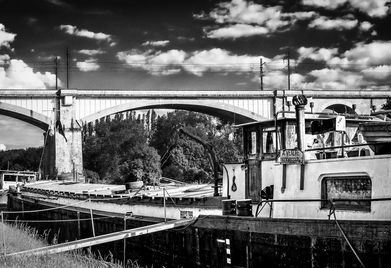 France Saint Mammės Riverside Landscape Monochrome Black And White