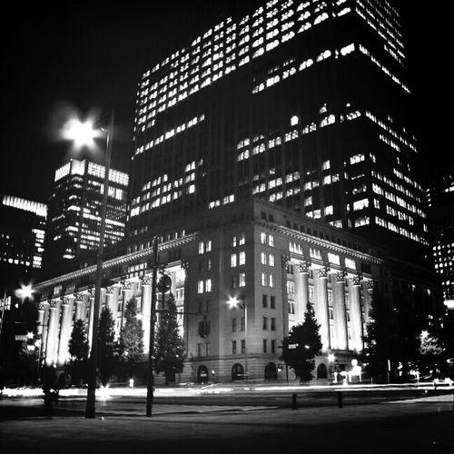 Nightphotography Blackandwhite Building Night Lights