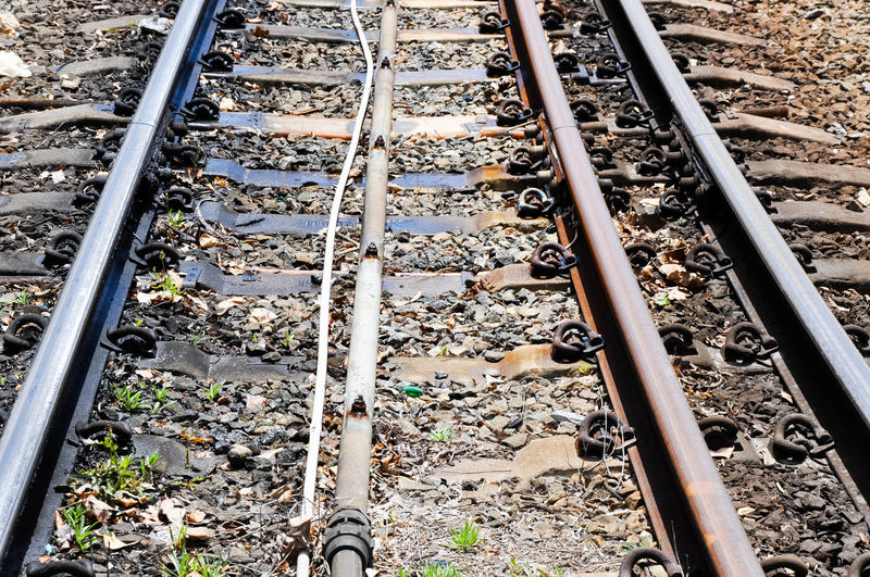 Ground level view of railway tracks with pebbles,railroad ties and rails. Abstract Connection Diminishing Perspective Dirty Gravel Ground Level View Industrial Iron Iron - Metal Metal Outdoors Parallel Pebble Rail Transportation Railroad Ties Railroad Track Rails Railway Railway Track Stone - Object Straight Surface Level The Way Forward Tracks Transportation