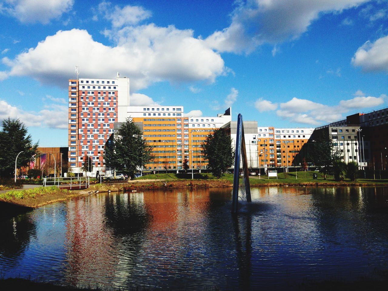 Aston University Aston University Campus Reflection Clouds Urban Landscape Pond Lake Sculpture Scene Scenery Shots On Location Beautiful Day Urban Exploration